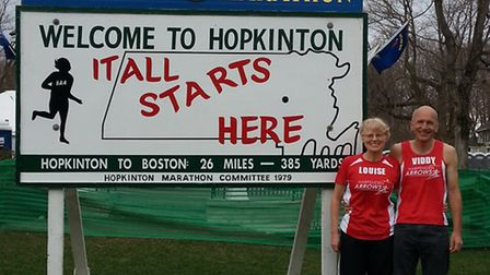David Green and Louise Crosby completed the Boston Marathon on Monday.