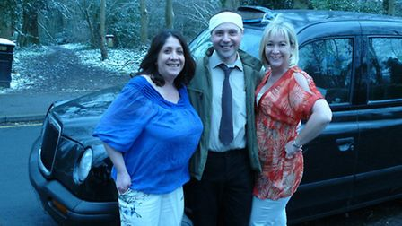 John Smith (played by Marek Wedler) with his two wives. Left is Mrs Barbara Smith of Wimbledon (pla