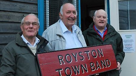 Brian Edwards, Franklyn Drake and Roger Simons, who have been in Royston Town Band since the band ro