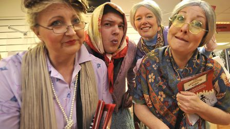 St Neots VAMPS at Beales store, promoting their next production 'The Producers'. Cast (l-r) Ann Buck