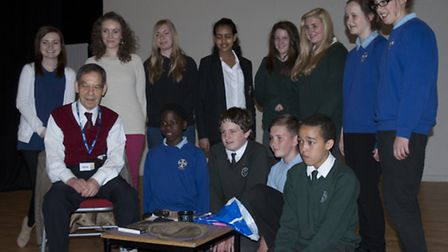 Rudy Oppenheimer with pupils from Meridian, Greneway and Roysia schools