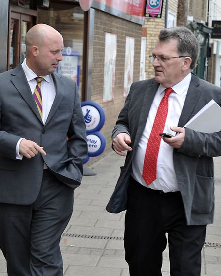 Cllr Peter Reeve UKIP interview with John Elworthy (right) in Ramsey yesterday. Picture: Steve Will