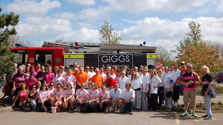 The teams who took part in the fire engine pull in St Neots