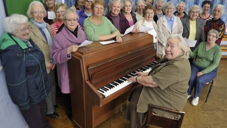 Buckden WI are making a roundabout campaign song, (front) pianist SheilaMurdoch