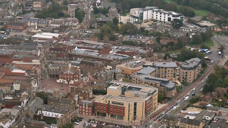 Huntingdon town centre aerial view