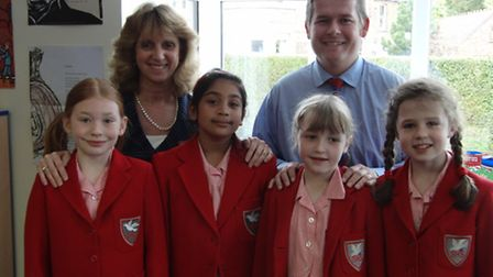 Head Mrs Carolyn Godlee and Deputy Head Dan Sayers with pupils