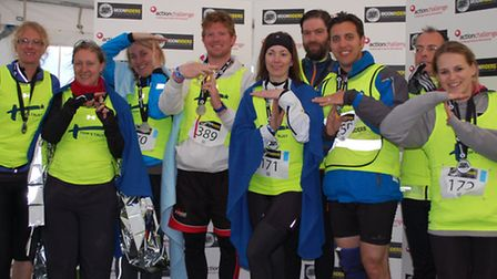 9 of the 12 riders from left to right Sam Lane, Jules Leaver, Debs Whiteley, Ed Gough, Julie Wych, A