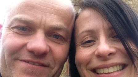 Lands End to John O'Groats Bike Ride, funraising for Cancer Research, (l-r) Glen Harris and Lesley M