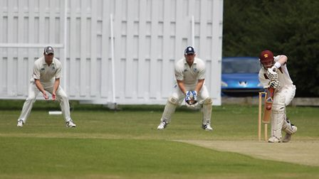 Richard Winchester hits one off the middle of the willow