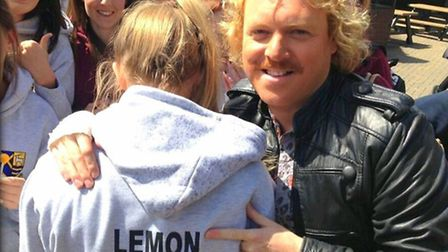 Comedian and TV presenter Keith Lemon poses with STAGS student Mackenzie Lemon at Thorpe Park