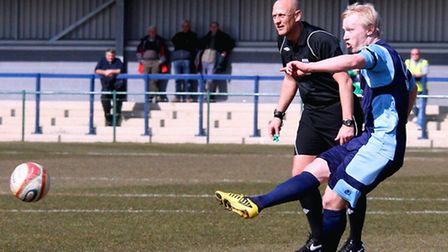 FREE KICK SPECIALIST: Lewis Hilliard scores against Arlesey Town last season. Picture: Andy Wilson.