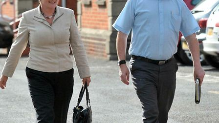 Fenland District Councillor Martin Curtis and Tory agent Debbie Clark arriving at Fenland Hall for t