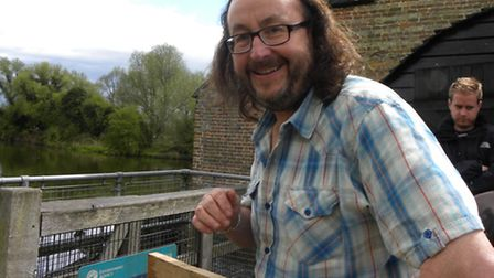 Hairy Bikers Visit Houghton Mill for filming, one of the pair Dave Myers, outside the Mill