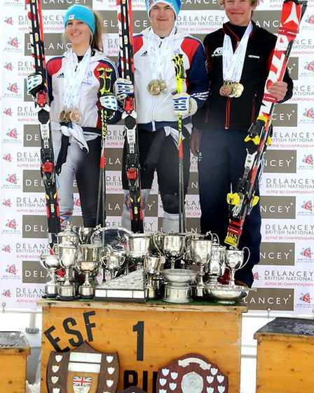 Max Baggio on the podium after his Giant Slalom win at the British Alpine Championships in France.