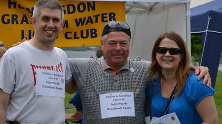 Ray McCawley (centre), with his dauther Clare and her partner Terry, pictured after the walk