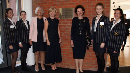 Megan Agalawatte 17, head girl Georgina Inglis 17, head Rosemary Martin, Selfridges MD Anne Pitcher,