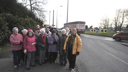 Buckden WI members campaigning for traffic lights on the A1 roundabout.