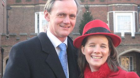 Nicki Freeman and her dad Peter at St James's Palace, where she received her Gold Duke of Edinburgh