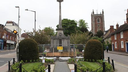 Scaffolding around the war memorial on St Peter's street as it is prepared for cleaning