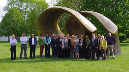 Members of the Creative Hertfordshire team at the Henry Moore Foundation, Perry Green at the sculptu