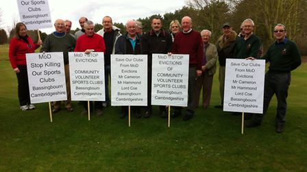 Members of Bassingbourn Golf Club make their feelings about the closure of the club known