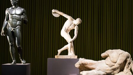 Sculptures in the Ancient Greek Art exhibition at the British Museum including 'Discobolus' (Discus