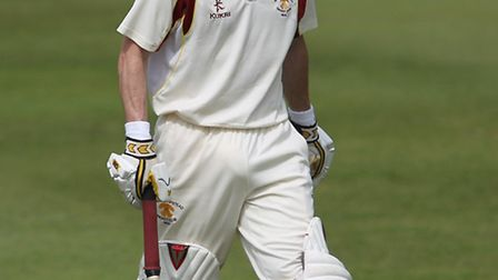 Chris Martin walks after being trapped LBW against Welwyn.