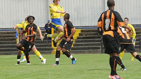 Andrew Fagan heads in for St Albans City against Barnet last year. Picture by Bob Walkley