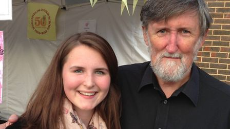 Bob Power last weekend with his 14 year old granddaughter Jasmine Fisher ( who plays sax in Hat Five
