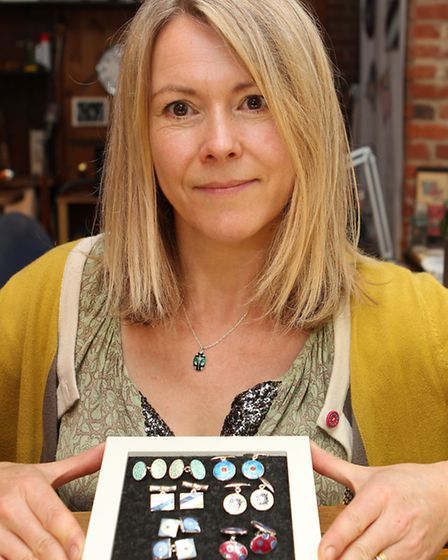Fiona Rae with some of her signature cufflinks