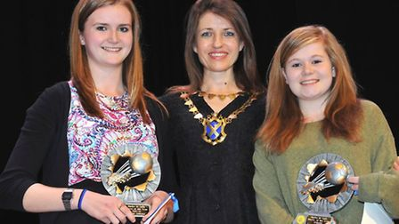 St Albans City Youth U14 Girls joint players of the season Olivia Almond and Scarlett Pattenden rece