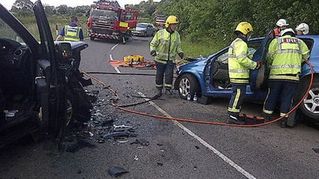 Firefighters rescue man from car after crash at Great Gidding