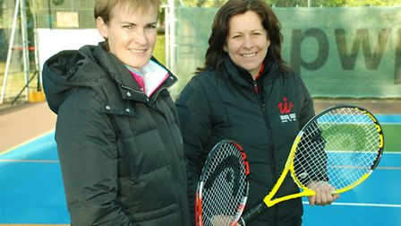 Judy Murray and Mandy Franks during a visit to St Albans by the tennis star's mum in 2011
