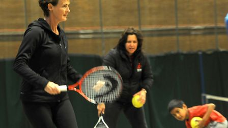 Judy Murray visited Harpenden Sports Centre to help with coaching lessons.