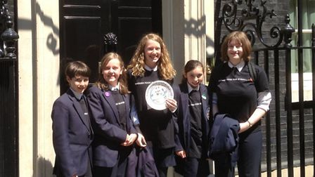 SJL students outside 10 Downing Street