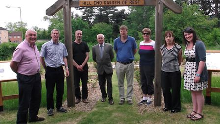 From left at the Hill End Garden of Rest, Highfield Park, are: Roger Thomas (chair of Highfield Park
