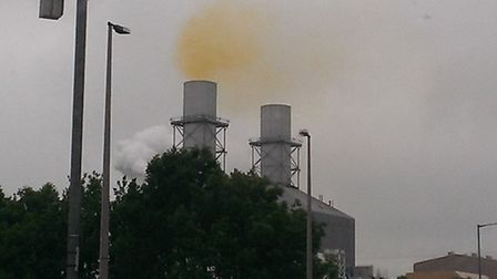 yellow fumes at Little Barford Power Station