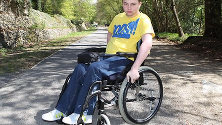 Glen Shorey next to the speed bumps which caused his fall on the Verulamium Park Cycle Path leading