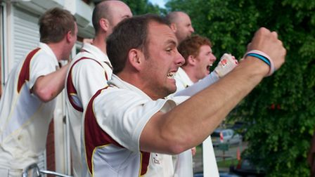 Adam Winchester leads the celebrations as Mark Winchester hits a four to win the game for Wheathamps