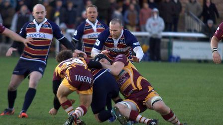 Action from Old Albanian's October 29 game against Sedgley Park RFC. Picture by EG Baldwin Photograp