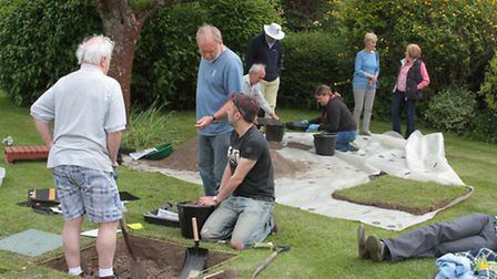 Volunteers get busy at the test pit at Chiswick End, Meldreth