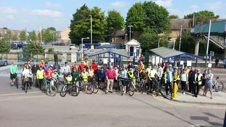 Cyclists set off from Royston station
