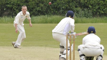 Eaton Socon bowler Ryan Worboys in their game against Warboys. Picture: Helen Drake.