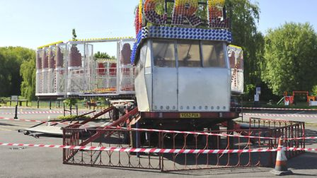 Fairground ride at St Neots cordoned off awaiting inspection from The Health and Safety Executive (J