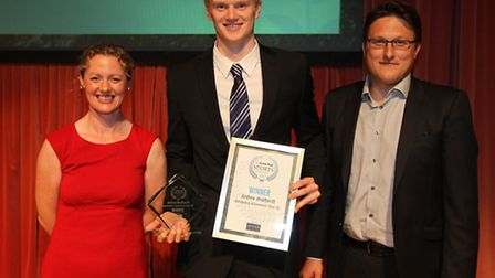 Andrew Weatheritt, the swimmer who won the Oustanding Achievement (Over-18) award, centre, with host