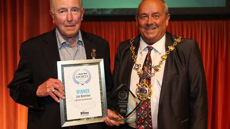 Hunts FA's Jim Bremner was presented with his Lifetome Achievement award by Mayor of Huntingdon, Cou
