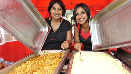 St Neots Food & Drink Day, at St Neots market Square, (l-r) Nadia Latif and Julia Latif of Our House