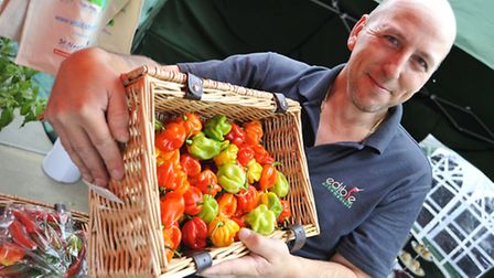 St Neots Food & Drink Day, at St Neots market Square, Shawn Plumb of Edible Ornamentals, in Chawston