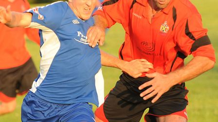 New captain Ben Martin jostles for the ball. Picture by Bob Walkley