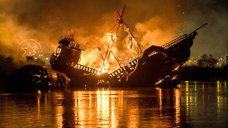 The Big Burn, The pirate ship in the middle of the lake is set alight as part of Saturday night's fi